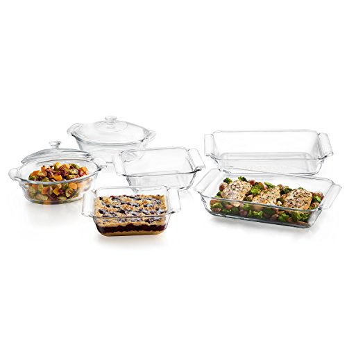 Libbey Baker's Premium 6-Piece Glass Casserole Baking Dish Set with 2 Covers