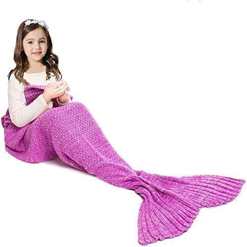 JR.WHITE Mermaid Tail Blanket for Kids, Hand Crochet Snuggle Mermaid,All Seasons Seatail Sleeping Bag Blanket (Pastel Pink) - PHUNUZ
