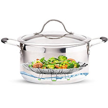 "Load image into Gallery viewer, Steamer Basket Stainless Steel Vegetable Steamer Basket Folding Steamer Insert for Veggie Fish Seafood Cooking, Expandable to Fit Various Size Pot (5.1"" to 9"")"