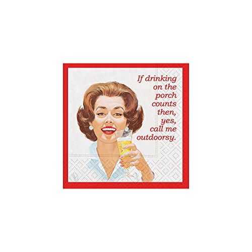 Design Design Call Me Outdoorsy Cocktail Napkins, 5 x 5 Inches, Multicolor