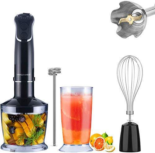 5-in-1 Immersion Hand Blender, MEGAWISE Powerful 800 Watt 12-Speed Stick Blender with Sturdy Titanium Plated Stainless Steel Blades, Including 500ml Chopper, 600ml Beaker, Whisk and Milk Frother Attachments, Dishwasher Safe and BPA-Free - PHUNUZ