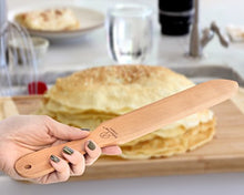 "Load image into Gallery viewer, The ORIGINAL Crepe Spreader and Spatula Kit - 2 Piece Set (7"" Spreader and 14"" Spatula) Convenient Size to Fit Large Crepe Pan Maker 