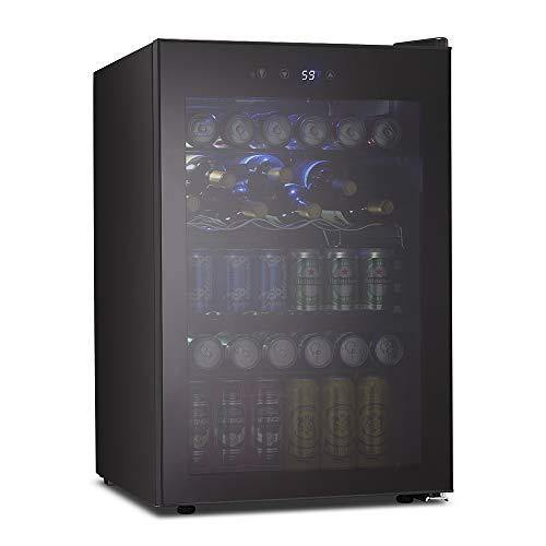Kismile 4.5 Cu.ft Beverage Refrigerator and Cooler,126 Can Mini Fridge Glass Door with Digital Temperature Display for Soda,Beer or Wine,small Drink Dispenser Cooler for Home,Office or Bar (Black) - PHUNUZ
