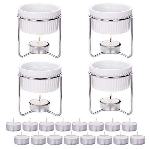 Hiware 4 Pieces Ceramic Butter Warmers with 16 Pieces Tealight Candles Set for Seafood, Fondue - Dishwasher Safe - PHUNUZ