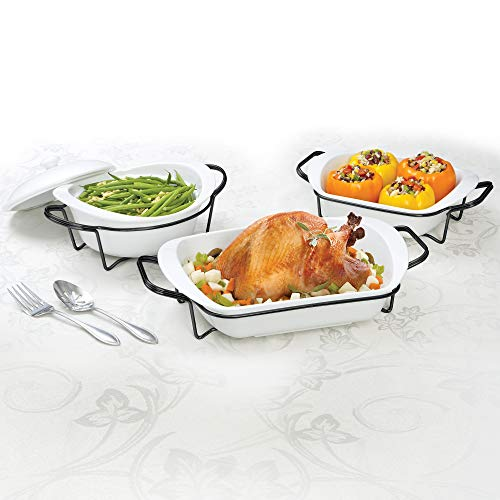 Certified International 7 Piece Porcelain Set Cookware, Bakeware, Cooking Accessories, White