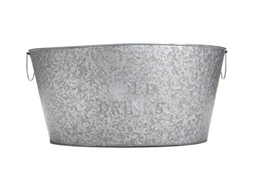 Mind Reader Round Galvanized Steel Beverage Tub with Handles, Party Basket for Drinks, Ice, Rustic Storage Container for Toys, Firewood, Crafting Supplies, Large, Silver