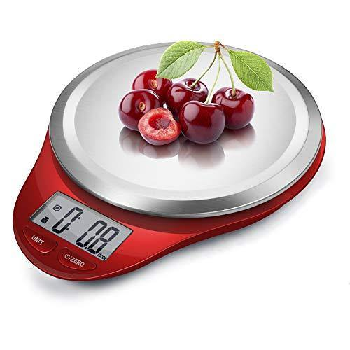 NUTRI FIT Digital Kitchen Scale with Wide Stainless Steel Plateform High Accuracy Multifunction Food Scale with LCD Display for Baking Kitchen Cooking,Tare & Auto Off Function (Red) - PHUNUZ