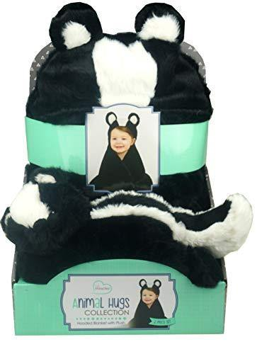 Little Miracles Animal Hugs Collection - Hooded Blanket with Plush, 2 Piece Set (Skunk) - PHUNUZ