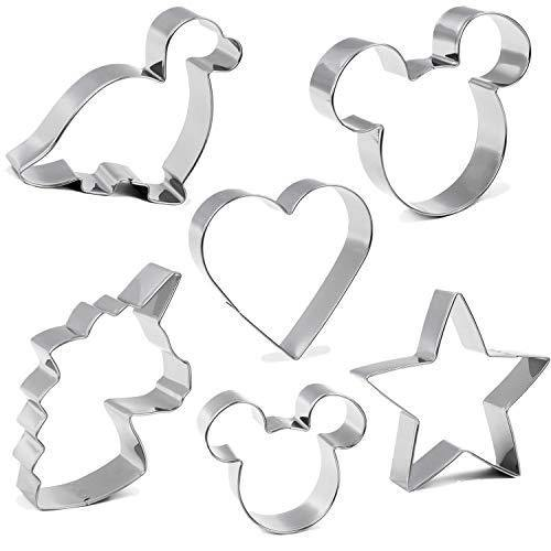 Cookie Cutter for Kids,Mickey Mouse Unicorn Dinosaur Heart Star Shapes Stainless Steel Cookie Cutters Mold for Cakes,Biscuits and Sandwiches(Set of 6) - PHUNUZ