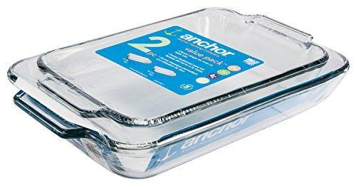 Anchor Hocking Oven Basics Glass Baking Dishes, Rectangular Value Pack, Set of 2 - PHUNUZ