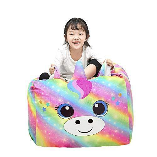 Play Tailor Unicorn Bean Bag Chair Cover for Kids, Stuffed Animal Storage Beanbag Chairs Large Soft for Girls Bedroom Organizers and Decoration (No Filler) - PHUNUZ