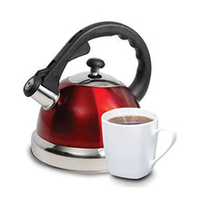 Load image into Gallery viewer, Mr Coffee Claredale Stainless Steel Whistling Tea Kettle, 2.2 Quarts, Red