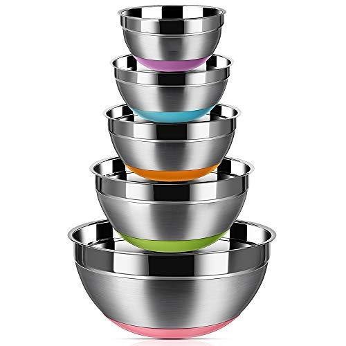 Stainless Steel Mixing Bowls (Set of 5), Non Slip Colorful Silicone Bottom Nesting Storage Bowls by Regiller, Polished Mirror Finish For Healthy Meal Mixing and Prepping 1.5 - 2 - 2.5 - 3.5 - 7QT - PHUNUZ