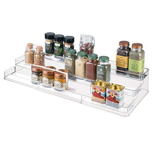 mDesign Large Plastic Adjustable, Expandable Kitchen Cabinet, Pantry, Step Shelf Organizer/Spice Rack with 3 Tiered Levels of Storage for Spice Bottles, Jars, Seasonings, Baking Supplies - Clear - PHUNUZ