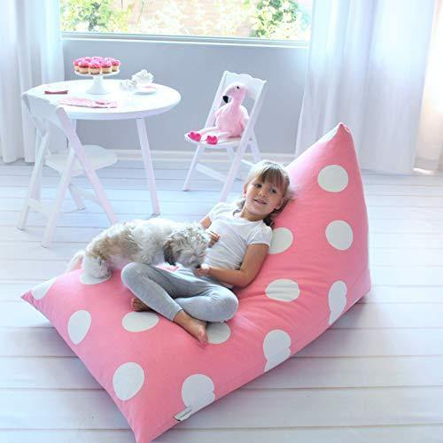 Butterfly Craze Stuffed Animal Storage Bean Bag Chair Cover – Stuff 'n Sit Toy Bag Floor Lounger for Kids, Teens and Adult |Extra Large 200L/52 Gal Capacity |Premium Cotton Canvas (Pink Polka Dot) - PHUNUZ
