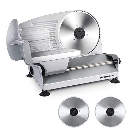 Meat Slicer, Anescra 200W Electric Deli Food Slicer with Two Removable 7.5'' Stainless Steel Blades and Food Carriage, Child Lock Protection, 0-15mm Adjustable Thickness Food Slicer Machine- Silver - PHUNUZ