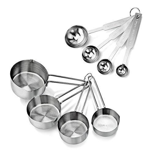 New Star Foodservice 42917 Stainless Steel Measuring Spoons and Measuring Cups Combo, Set of 8 - PHUNUZ