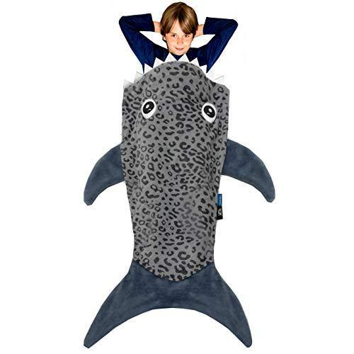 Blankie Tails | Shark Blanket, New Shark Tail Double Sided Super Soft and Cozy Minky Fleece Blanket, Machine Washable Wearable Blanket (56'' H x 27'' (Kids Ages 5-12), Gray) - PHUNUZ