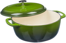 Load image into Gallery viewer, AmazonBasics Enameled Cast Iron Covered Dutch Oven, 7.3-Quart, Green
