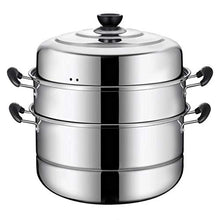 Load image into Gallery viewer, Beeiee Steaming Cookware, Steamer Pot, Multi-layer Boiler, 11 Inch 3-Tier Stainless Steel Steamer, 10Qt