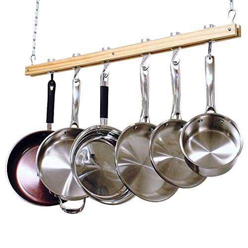Cooks Standard NC-00269 Standard, Single Bar, 36-Inch Ceiling Mounted Wooden Pot Rack, Brown