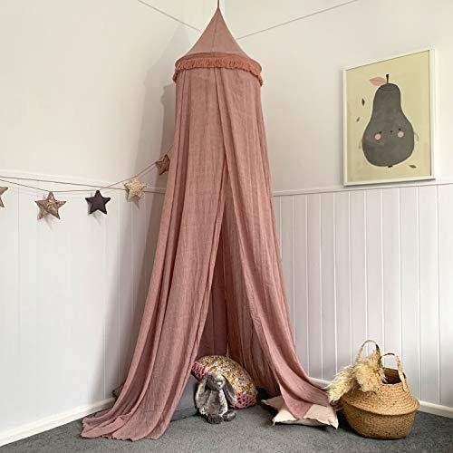 Zeke and Zoey Hanging Dusty Dirty Pink Princess Canopy for Girls Bed with Tassels - Hideaway Tent for Kids Rooms or Cribs. Nursery Decoration - Slightly Sheer Drapes for Child, Play or Reading - PHUNUZ