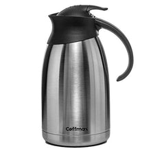 Load image into Gallery viewer, Thermal Coffee Carafe 68 Oz Keeping Beverages 12 Hours Hot or 24 Hours Cold – 2 Liter Vacuum Insulated Double Walled Server Pitcher - Stainless Steel Water Tea Thermos Dispenser by Coffmax