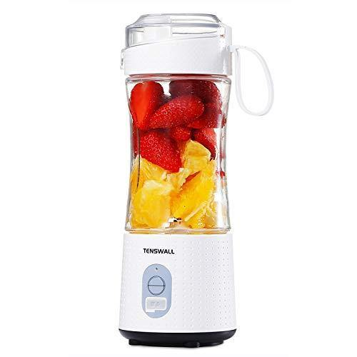 Tenswall Portable, Personal Size Smoothies and Shakes, Handheld Fruit Machine 13oz USB Rchargeable Juicer Cup, Ice Blender Mixer Home/Of, 380ML, White - PHUNUZ