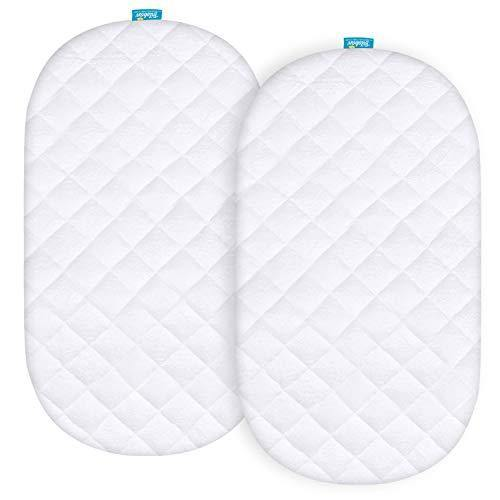 Biloban Waterproof Bassinet Mattress Pad Cover Compatible with Fisher-Price Soothing Motions Bassinet, 2 Pack, Ultra Soft Bamboo Sleep Surface, Breathable and Easy Care - PHUNUZ
