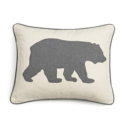 Eddie Bauer | Home Collection | 100% Cotton Twill Signature Bear Design Decorative Pillow, Zipper Closure, Easy Care Machine Washable, 16