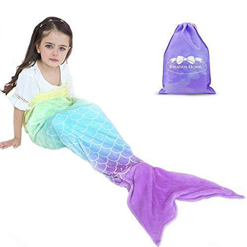 RIBANDS HOME Cozy Mermaid Tail Blanket for Kids and Teens Soft Flannel Fleece Wrapping Cover with Colorful Fish Scale Tail – All Seasons Plush Sleeping and Napping Coverlet (Ages 3-16) - PHUNUZ