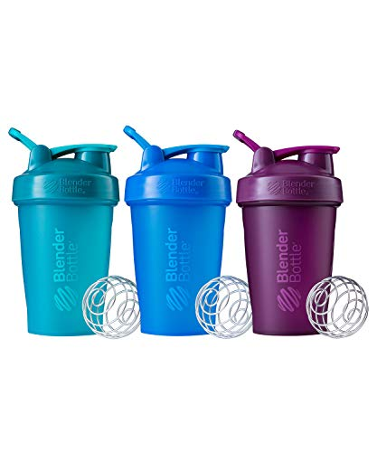 BlenderBottle Classic Shaker Bottle Perfect for Protein Shakes and Pre Workout, 20-Ounce (3 Pack), Teal, Plum, Cyan