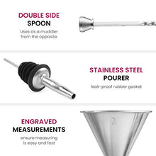 Load image into Gallery viewer, 7 Piece Cocktail Shaker Bar Tools Set Brushed Stainless Steel Bartender Kit, with All Bar Accessories, Cocktail Strainer, Double Jigger, Bar Spoon, Bottle Opener, Pour Spouts