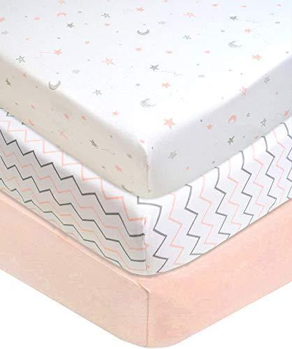 American Baby Company 3 Piece 100% Cotton Jersey Knit Fitted Crib Sheet for Standard Crib and Toddler Mattresses, Blush Pink Star/Zigzag, for Girls - PHUNUZ