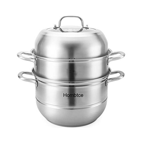 Steamer Pot with Transparent lid, 3 Tier 11 inch Big 304 Stainless Steel Steamer Cookware Pot Saucepot Multi-layer Boiler Steaming
