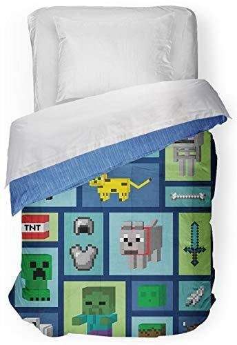 Minecraft Good Day Twin/Full Cooling Comforter - Super Soft Kids Bedding Features Creeper- Fade Resistant Polyester Microfiber Fill (Official Minecraft Product) - PHUNUZ