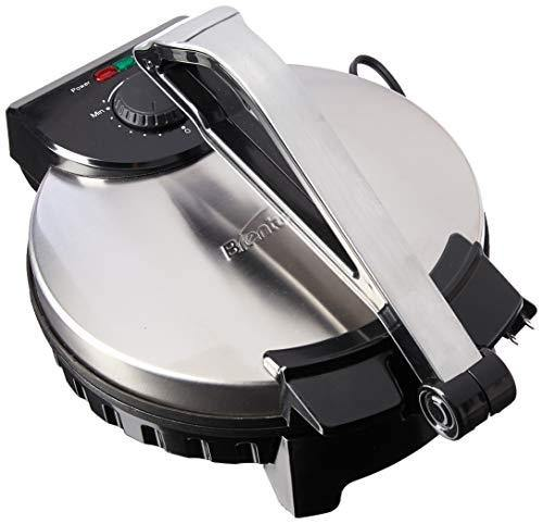 Brentwood Electric Tortilla Maker Non-Stick, 10-inch, Brushed Stainless Steel/Black - PHUNUZ