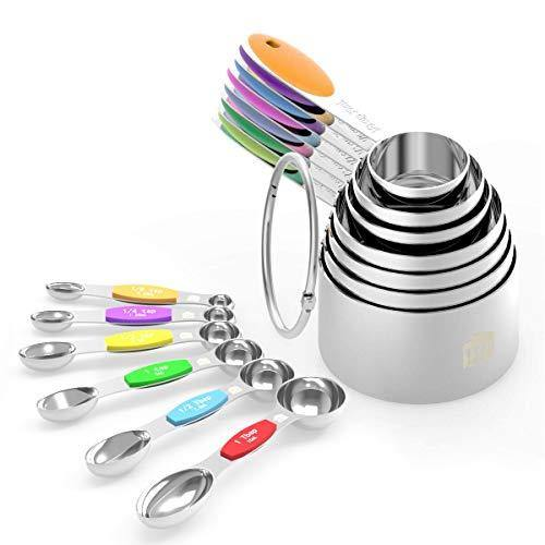 Measuring Cups Spoons Set - Wildone Stainless Steel Cups and Magnetic Measuring Spoons Set of 13, for Dry and Liquid Ingredients, including 7 Nesting Cups, 6 Spoons - PHUNUZ