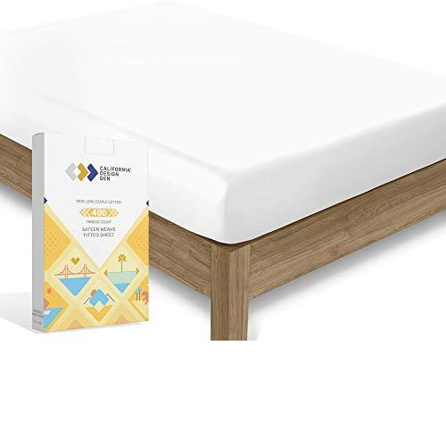California Design Den 400 Thread Count 100% Cotton 1 Fitted Sheet Only, Pure White Queen Fitted Sheet, Long - Staple Combed Pure Natural Cotton Sheet, Soft & Silky Sateen Weave - PHUNUZ