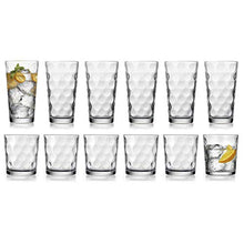 Load image into Gallery viewer, HE Modern Drinking Glasses Set, 12-Count Galaxy Glassware, Includes 6 Cooler Glasses(17oz) 6 DOF Glasses(14oz)12-piece Elegant Glassware Set