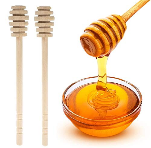 GIYOMI Wooden Honey Dipper Stick for Honey Jar Dispense Drizzle Honey,2 Pcs 6.3 Inch / 16cm Honey Dippers Sticks-Honeycomb Stick-Wooden Honey Spoon