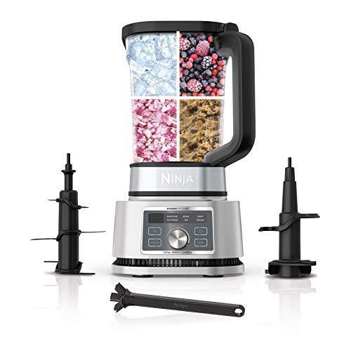 Ninja SS201 Foodi Power Pitcher 4in1 Smoothie Bowl Maker Crushing Blender Dough Mixer Food Processor 1400WP smartTORQUE 6 Auto-iQ presets, with a Stainless Silver Finish - PHUNUZ