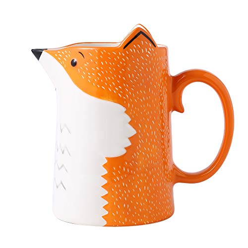 3D Fox Ceramic Water Pitcher Carafe Hand Painted Milk Bottle for Home Made Iced Lemon Water Juice Hot Milk and Tea