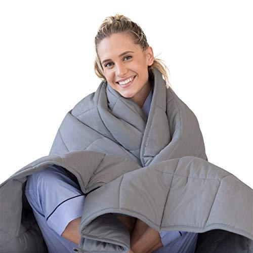 Luna Adult Weighted Blanket - Individual Use - 15 Lbs - 48x72 - Twin / Full Size Bed - 100% Oeko-Tex Cooling Cotton & Glass Beads - USA Designed - Heavy Cool Weight - Dark Grey - PHUNUZ