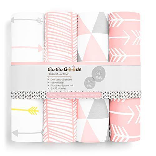 Bassinet Bed Sheets – Premium Bassinet Fitted Sheets 4 Pack – 100% Jersey Knit Cotton Cradle Sheets – Bassinet Bedding for Standard Size Oval or Halo Bassinet Pads – Bassinet Sheet for Girl - PHUNUZ