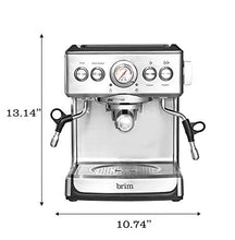 Load image into Gallery viewer, Brim 19 Bar Espresso Machine, Fast Heating Cappuccino, Americano, Latte and Espresso Maker, Milk Steamer and Frother, Removable Parts for Easy Cleaning, Stainless Steel