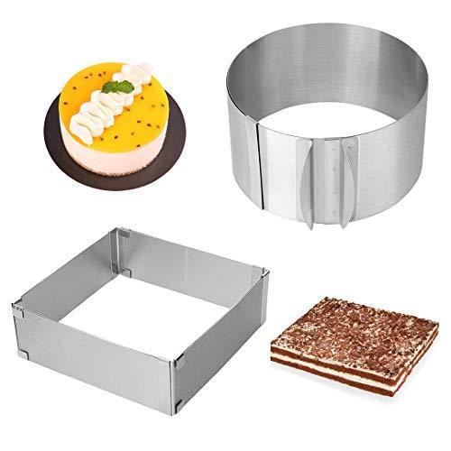 Adjustable Cake Mold Ring 2-piece Set, 6-12 Inch Cake Mousse Ring Stainless Steel (Round+Square) - PHUNUZ