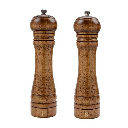 XQXQ Wood Salt and Pepper Mill Set, Pepper Grinders, Salt Shakers with Adjustable Ceramic Rotor- 8 inches -Pack of 2 - PHUNUZ