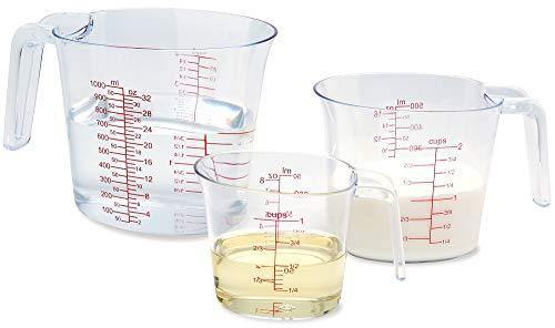 NPYPQ 3-Piece Measuring Cups Set, Plastic Measuring Cup of BPA-free with Plug-in Nesting Handle Stackable Design and Multiple Measurement Scales, Clear - PHUNUZ