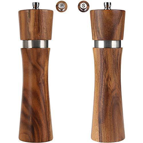Wood Salt and Pepper Grinder Set , Acacia wood salt and pepper shaker mill kit Manual with Adjustable Coarseness, Tableware Gifts,8 inch 2pcs/ pack (Salt and Pepper mill set of 2) - PHUNUZ